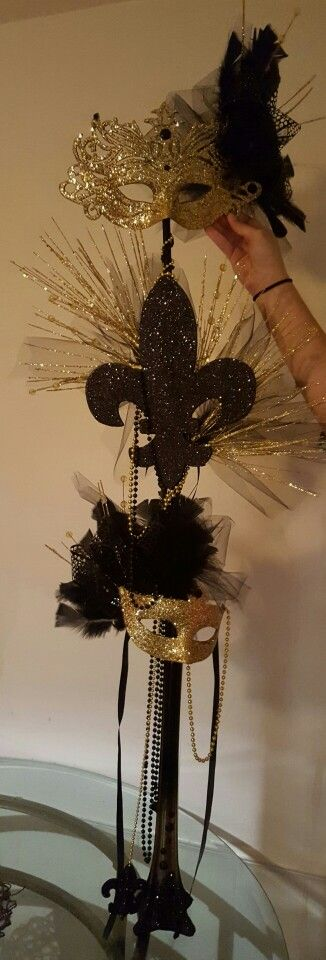 Mardi Gras Gold And Black Centerpiece Masquerade Centerpieces
