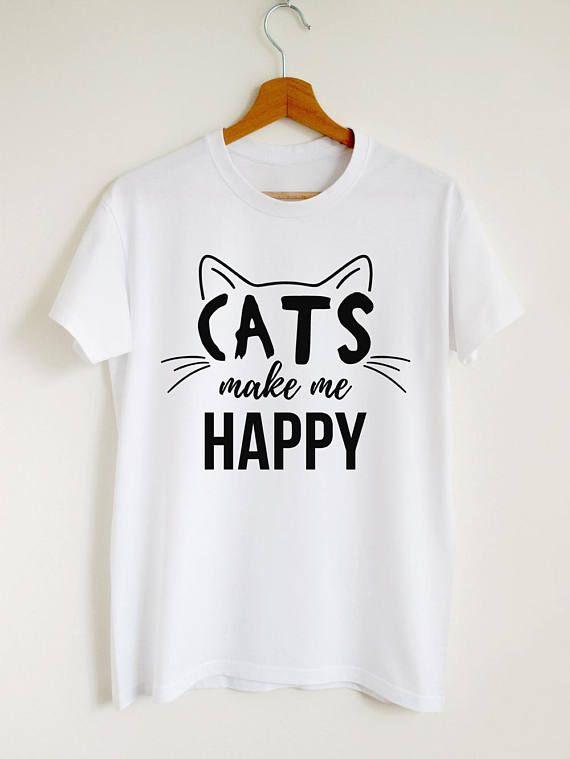 Cat shirt, cats make me happy T-shirt, cute cat mo