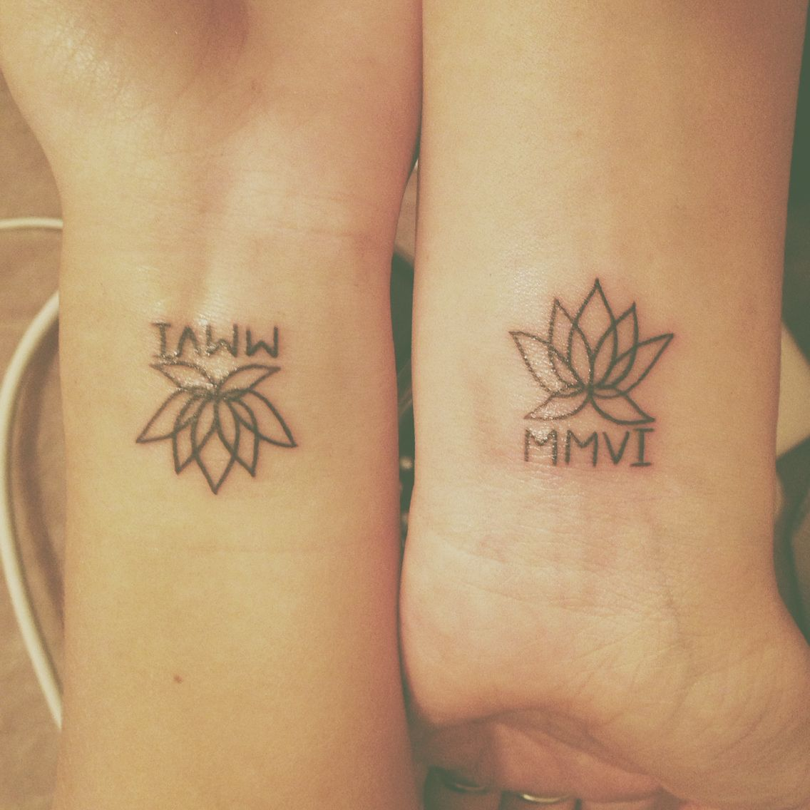 Best friend tattoos lotus flower and year we met for Tattoos for best friends with meaning