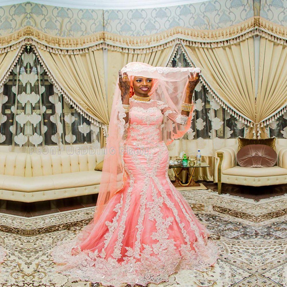 Find a Luxury Coral Mermaid Wedding Dresses Muslim Beaded Lace Hijab ...