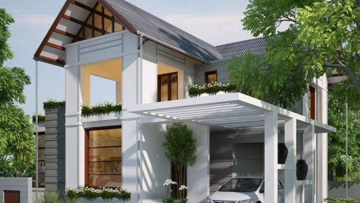 Modern White Carport Design Ideas For Minimalist Modern House Design Modern Bungalow House Small House Design Rustic House Plans