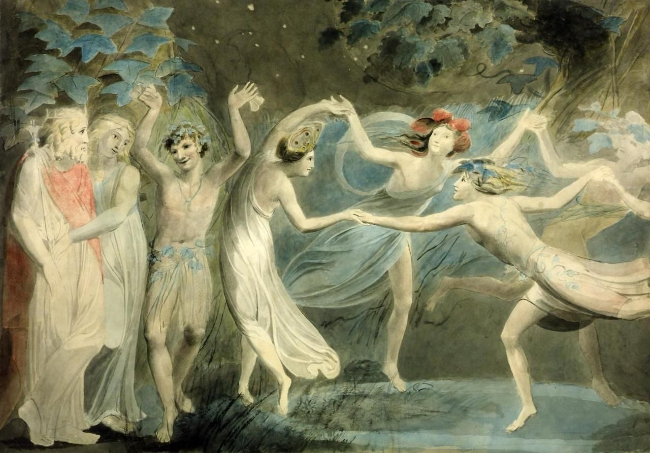 "Oberon, Titania and Puck with Fairies Dancing (c.1786). William Blake (English, 1757-1827). Watercolour and graphite on paper. Tate. This illustrates Titania's instruction to her fairy train in the last scene of Shakespeare's A Midsummer Night's Dream: ""Hand in hand, with fairy grace, / Will we sing, and bless this place."" Oberon and Titania, King and Queen of the fairies, are on the left. Puck, the perplexer of mortals, faces us. The fairies Moth and Peaseblossom are easily identifiable."
