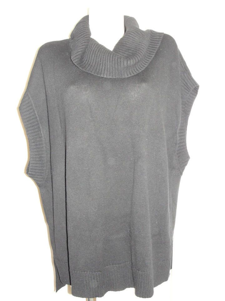 NEW CHICOS Black NINA Cowl Neck Oversized HI LOW Poncho Sweater ...