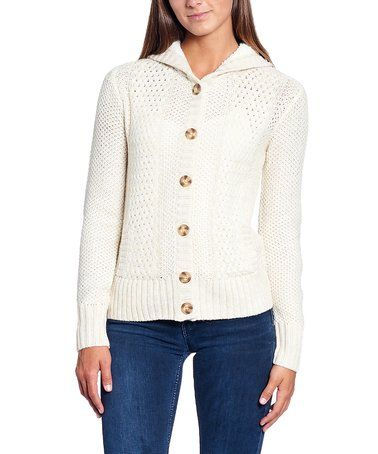 This Light Beige Sherpa-Lined Hooded Cardigan - Plus Too is ...