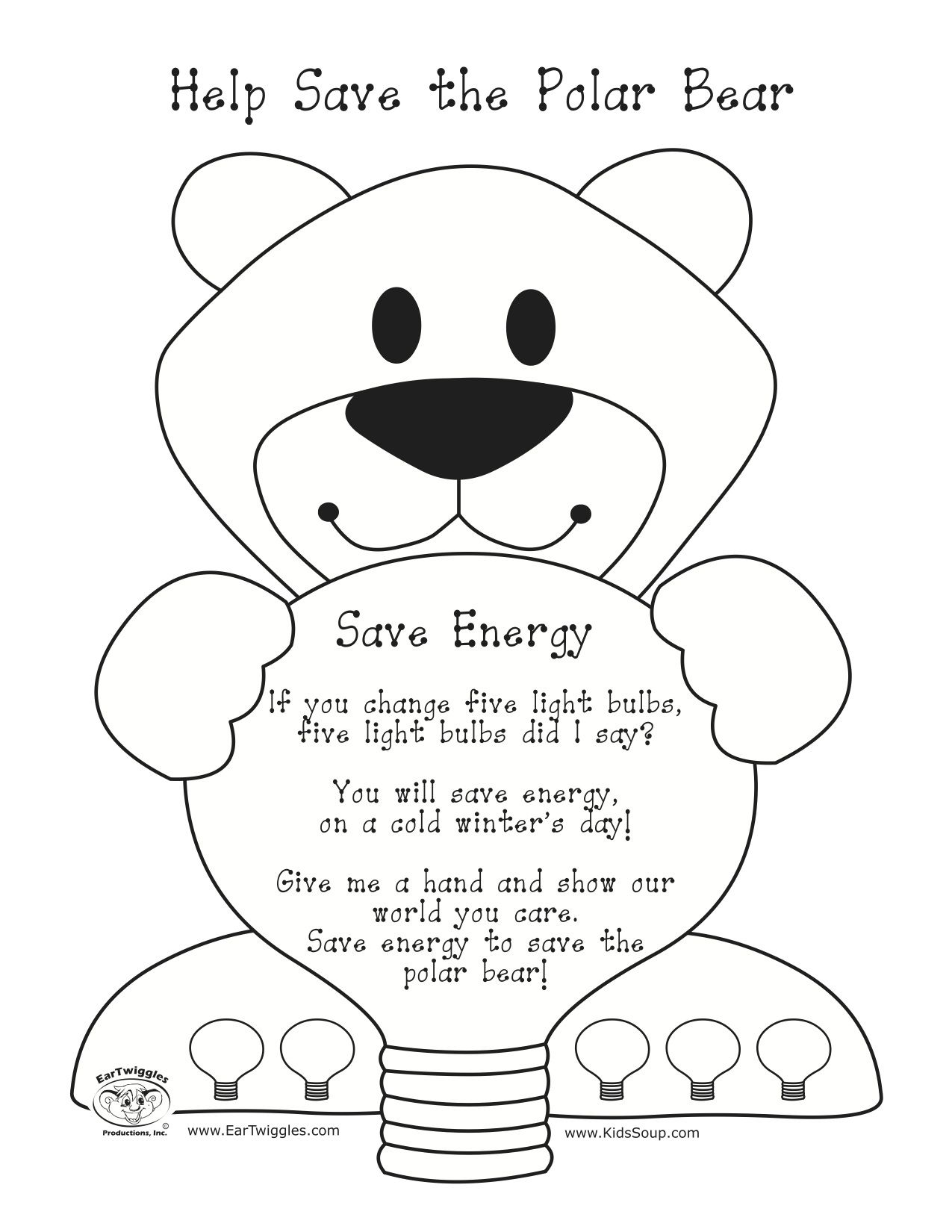 Help Save The Polar Bear Rhyme And Picture To Color