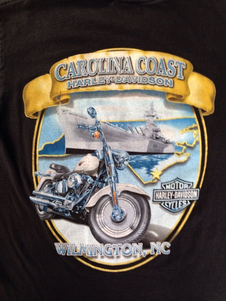 Original Harley Davidson T Shirt Carolina Coast Wilmington Nc Navy