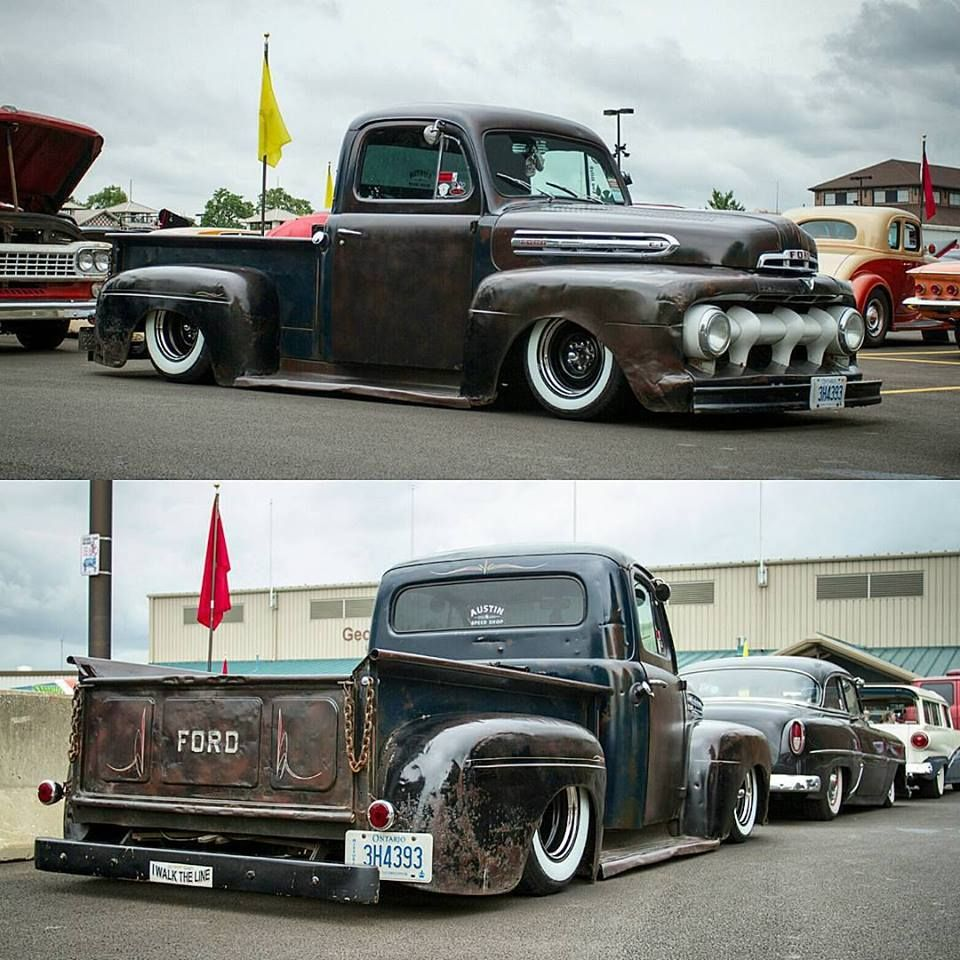 1952 Ford F-1 pickup slammed over wide whites and chrome wheels in a ...