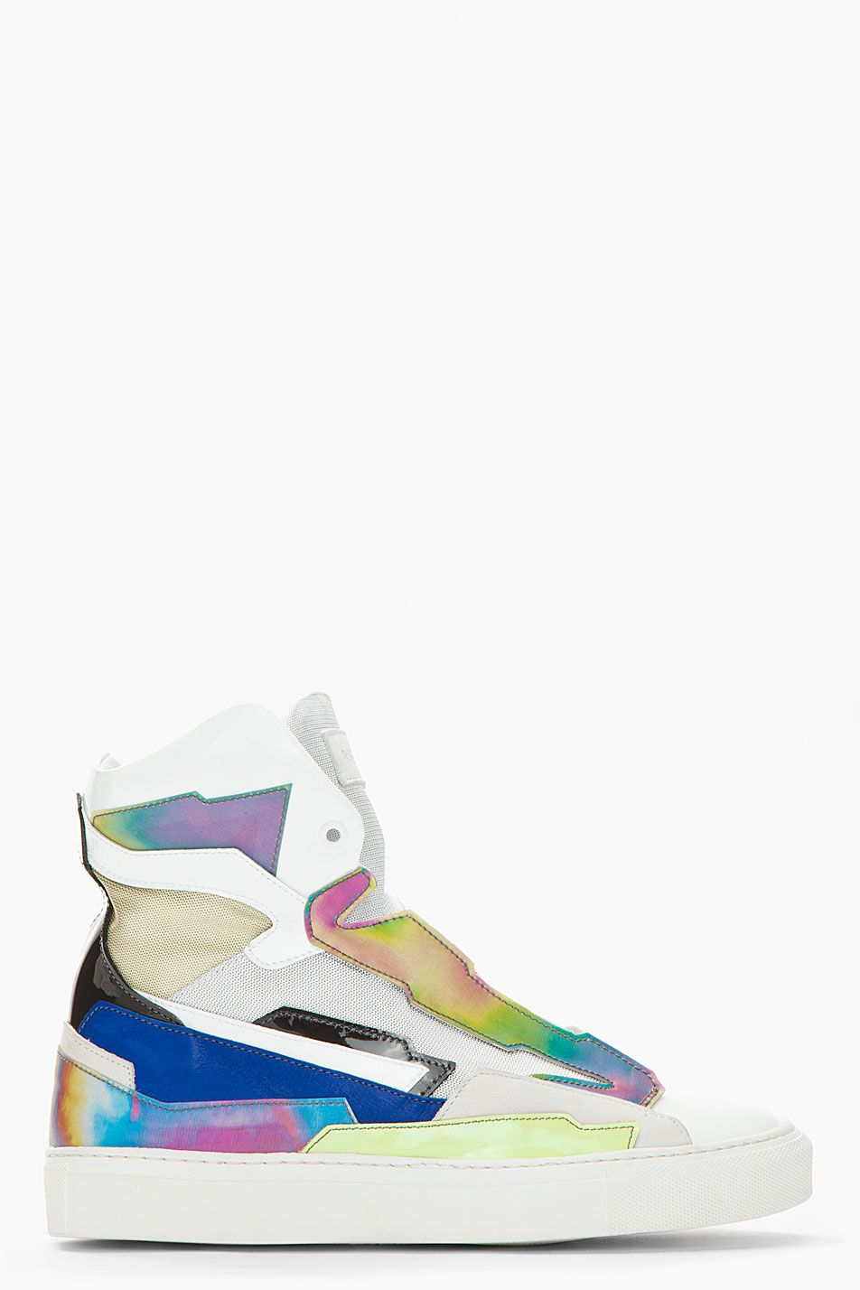 classic fit 269c5 2cf7c RAF SIMONS White  Blue Leather Holographic Space Sneakers