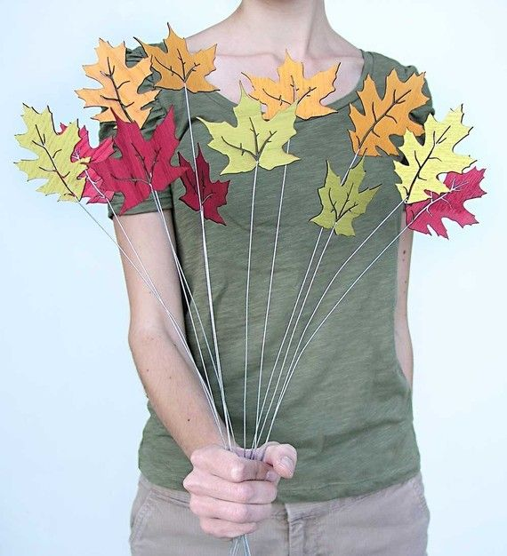 rustic fall leaves, set of 12
