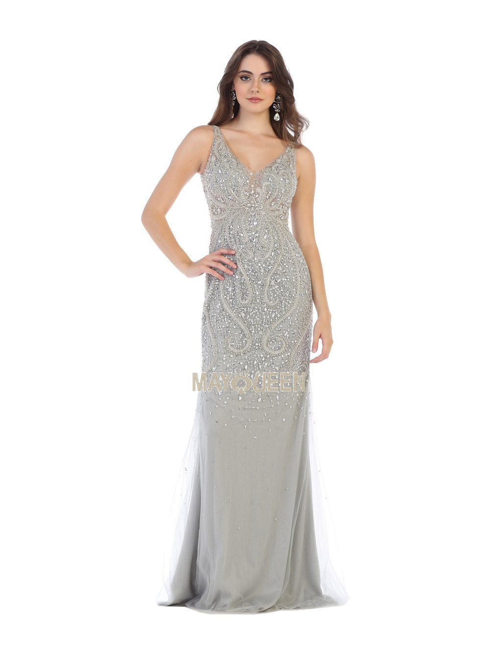 6db7b3696e55 MQ 7650 - Embellished V-Neck Fitted Gown | Diggz Prom | Prom, V neck, Gowns