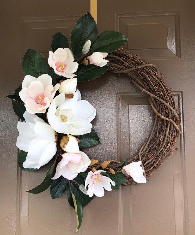 Photo of Magnolia wreath, all year round wreath, outer wreath, inner wreath, peasant wreath, simple wreath, floral wreath, white wreath, summer wreath