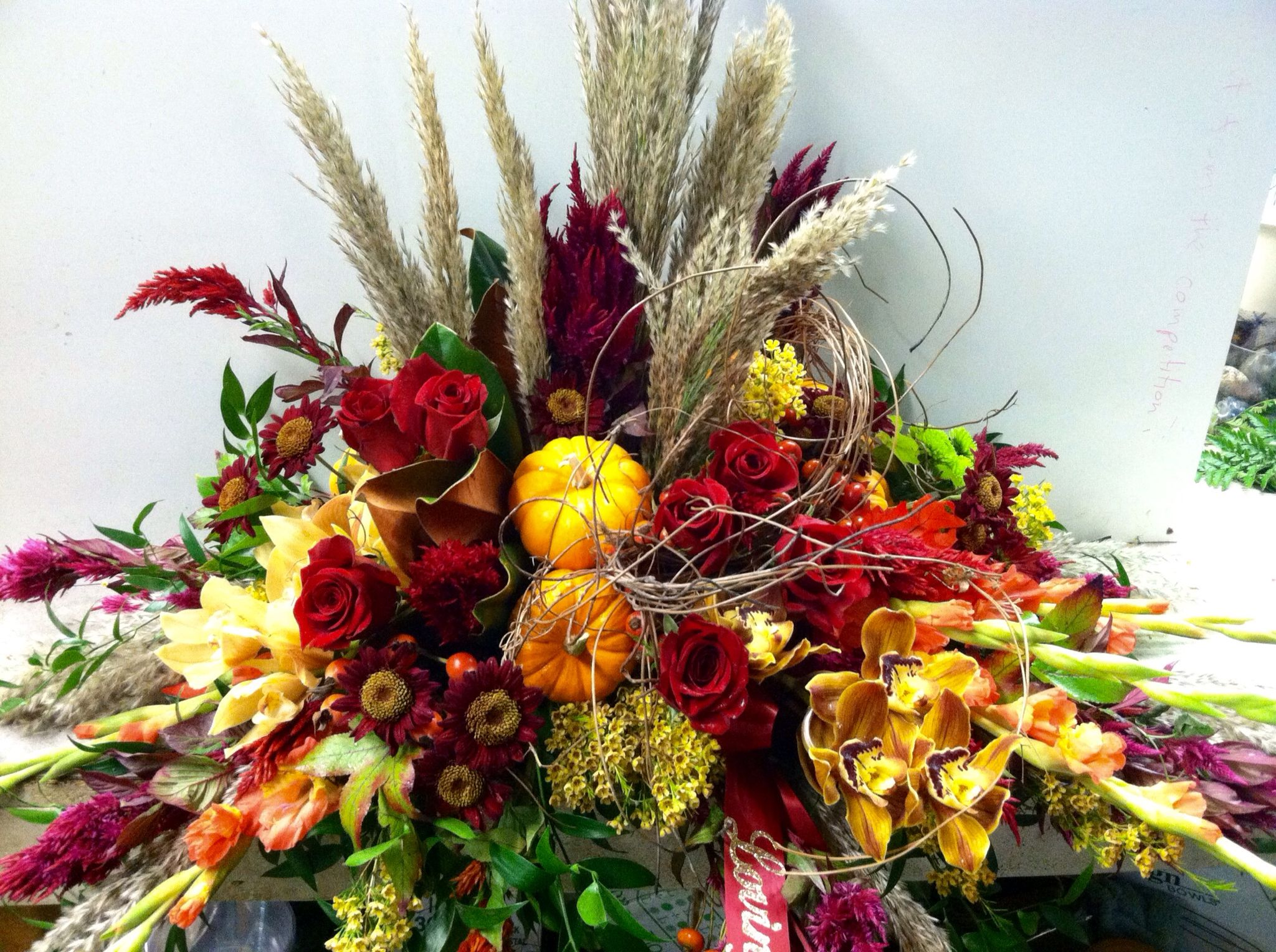 Autumn Inspired Casket Spray Memorial And Sympathy Pinterest