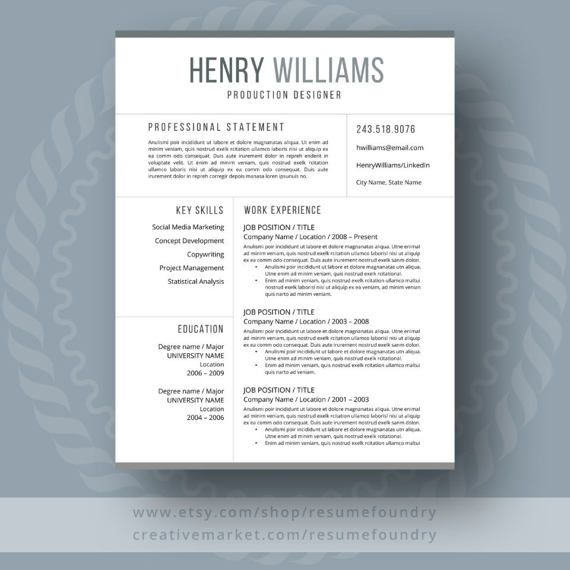 Modern Resume Template - the Henry Template, Microsoft word and Easy - how to update your resume