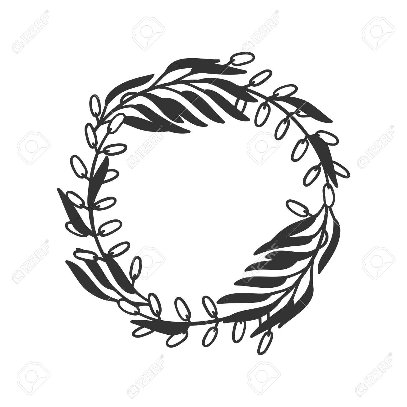 Hand drawn wreath for design use. Black Vector doodle