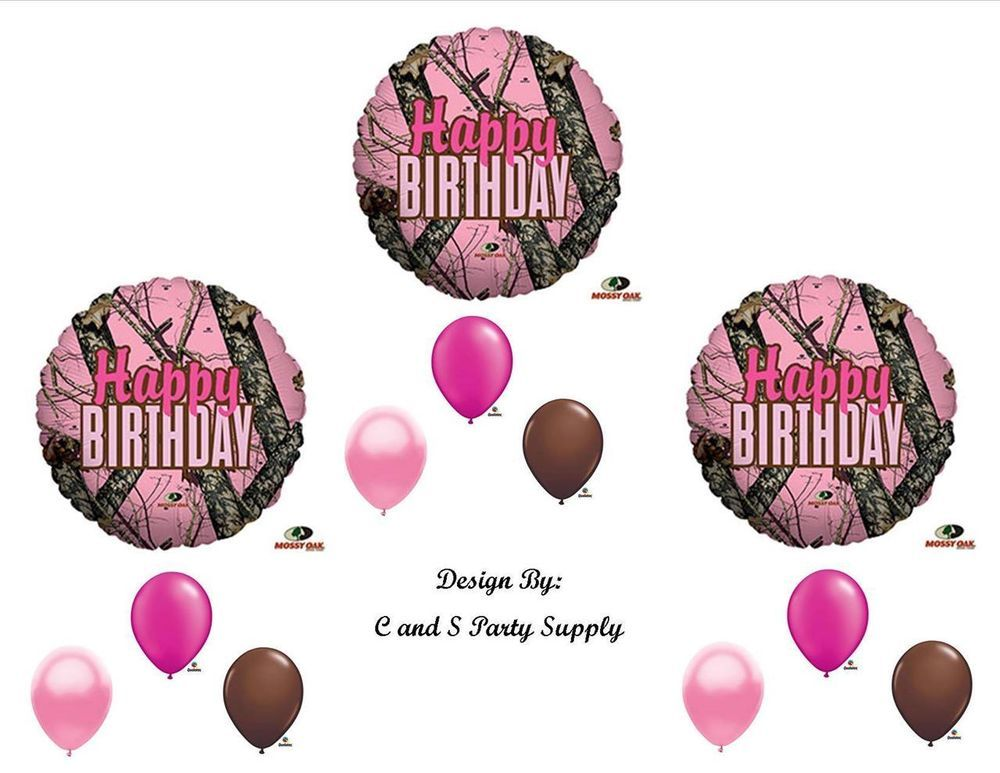 Pink mossy oak happy birthday party balloons decorations for Pink camo decorations