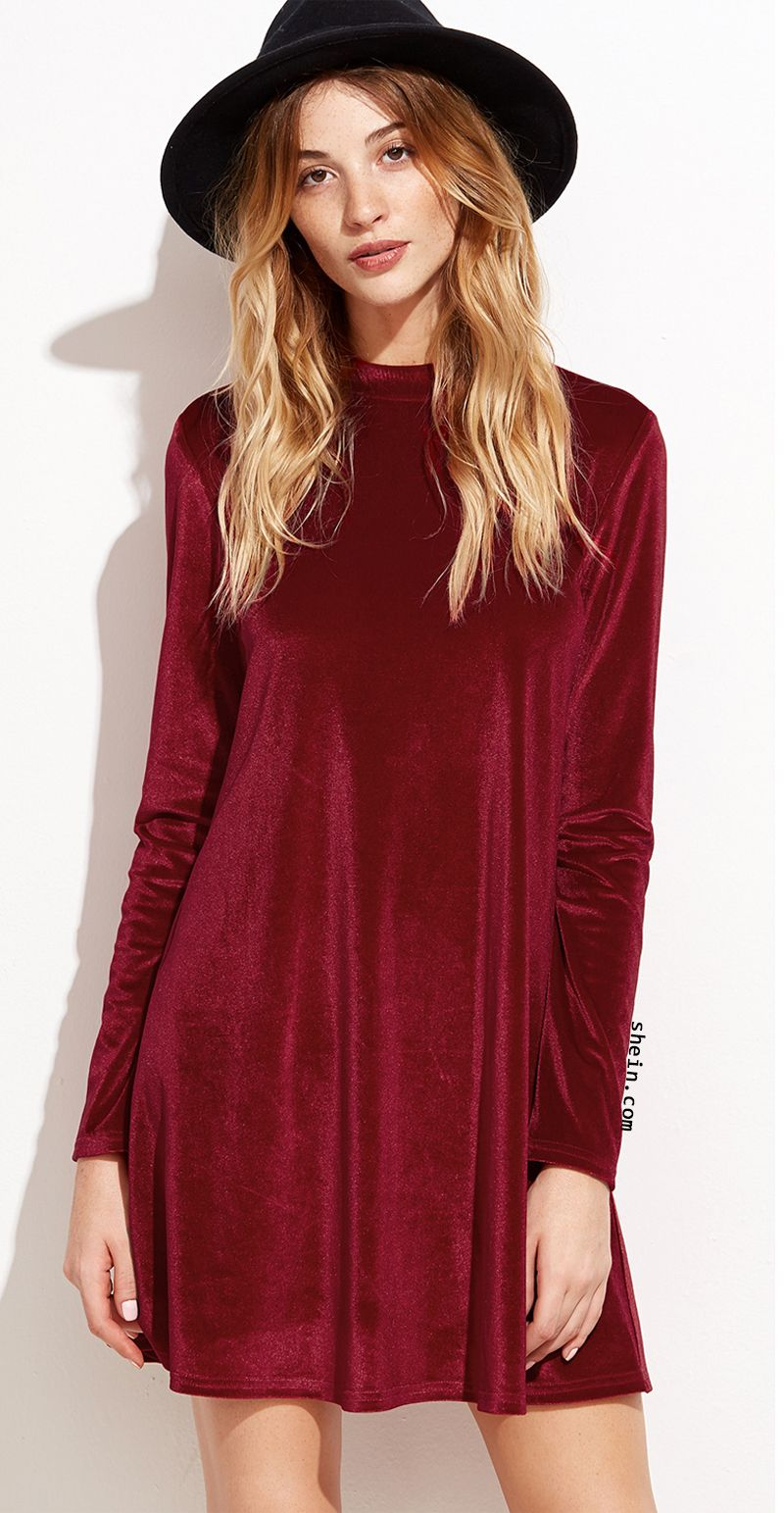 Red velvet backless long sleeve shift dress haute look pinterest