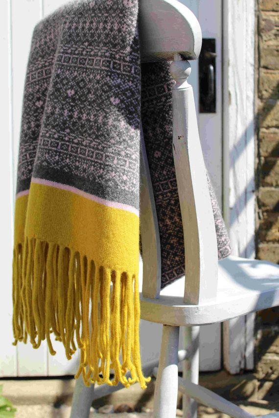 Fair Isle Scarf, Fair Isle Blanket, Blanket Scarf, Scandi, Knitted ...