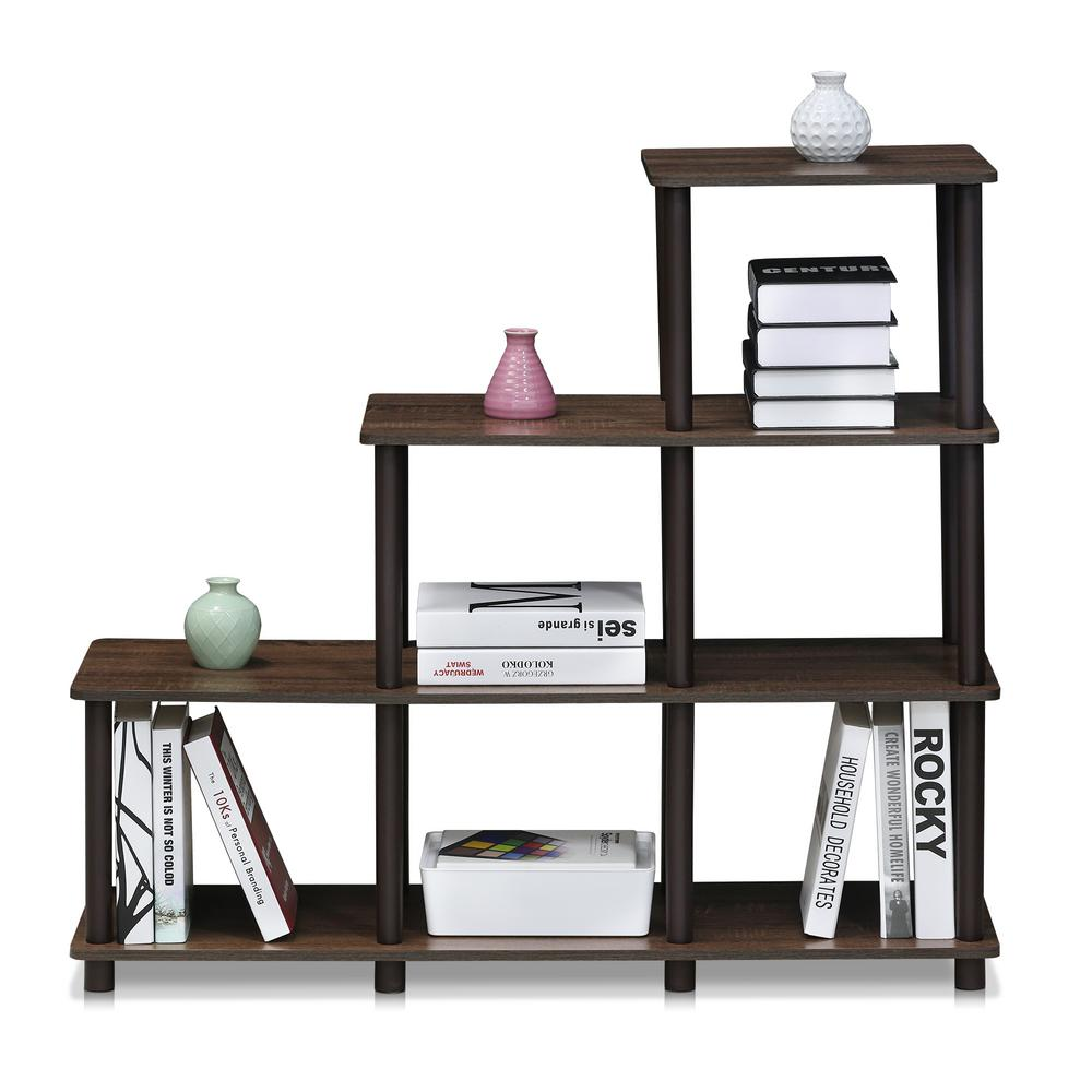Furinno turnntube walnutbrown ladder space shelf walnut ladder