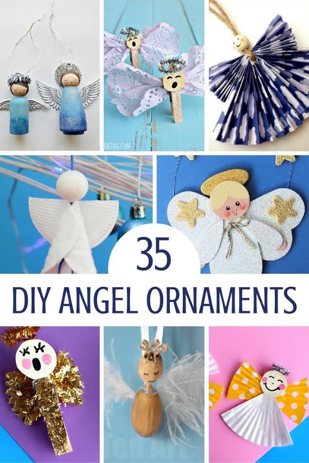 Engel Ornament Handwerk |  Dies sind die süßesten Engel Ornamente ein Roundup von 35 einfachen Urlaub DIY-Projekte Handwerk.  Viele können mit den Kindern gemacht werden.  Hängen Sie Ihre Engel auf einem Weihnachtsbaum, Banner, Mantel oder sogar zu einem Geschenkpaket hinzufügen.  Sie genießen diese Feiertagshandwerk zu machen.