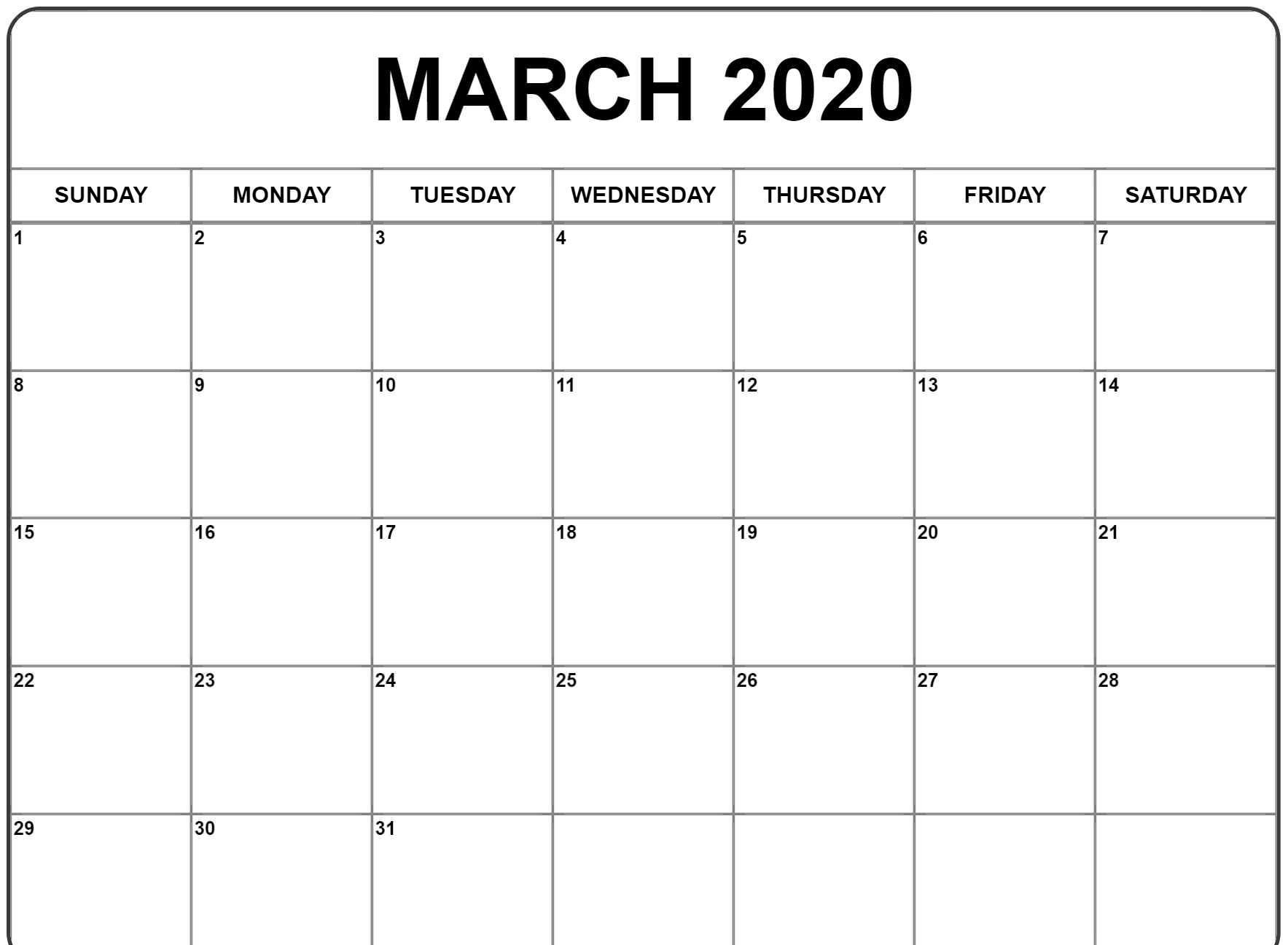 Calendar March 2020 Blank Printable Template Free Download In