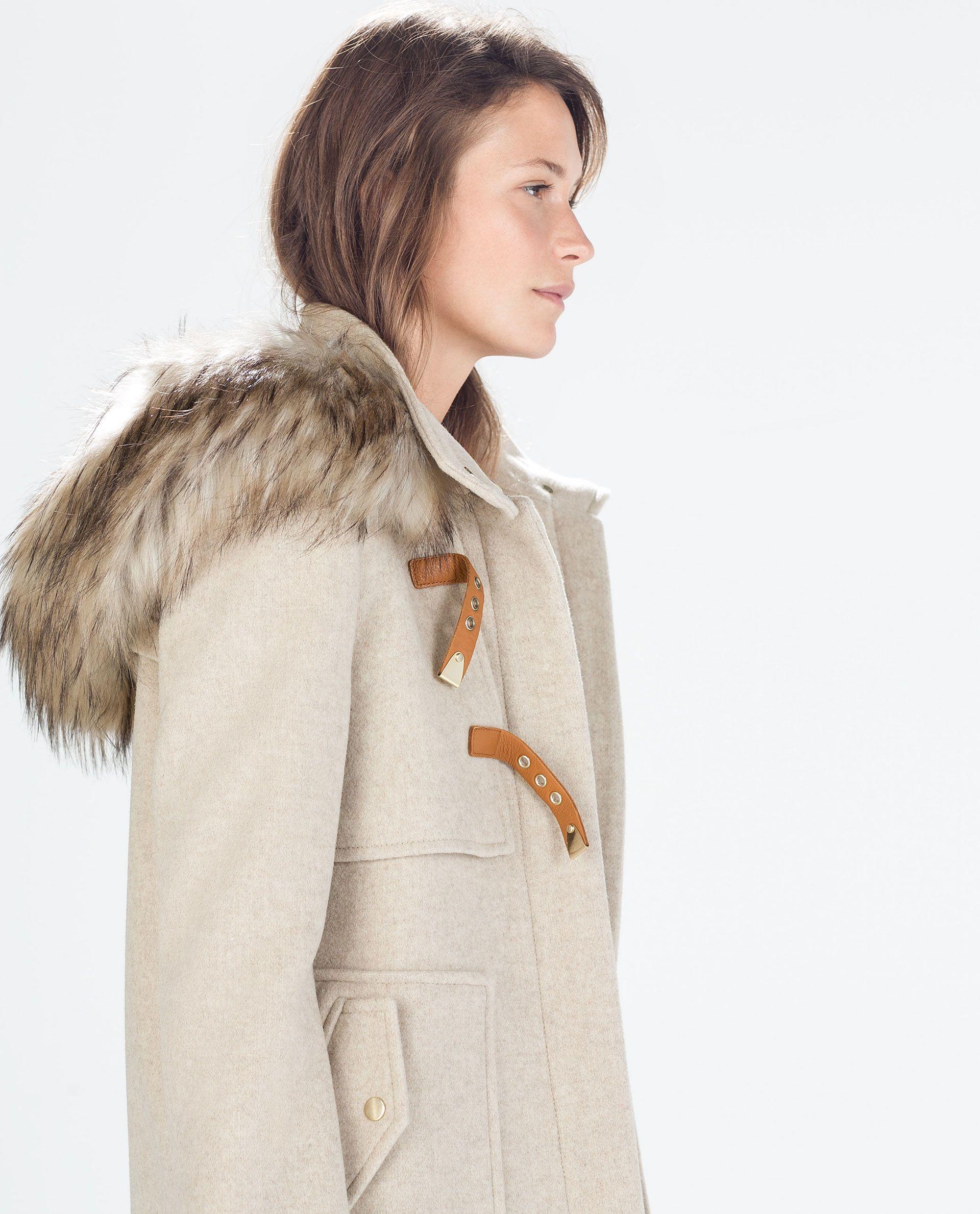 WOOL DUFFLE COAT WITH FUR HOOD from Zara | Fashion | Women&39s
