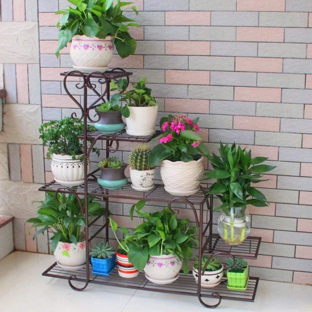 Laz Flower Stand Metal Garden Storage Shelf Corner Plant Stand Shelf Flower Plant Display Shelf For Balcony L In 2020 Flower Stands Corner Plant Flower Pots Outdoor