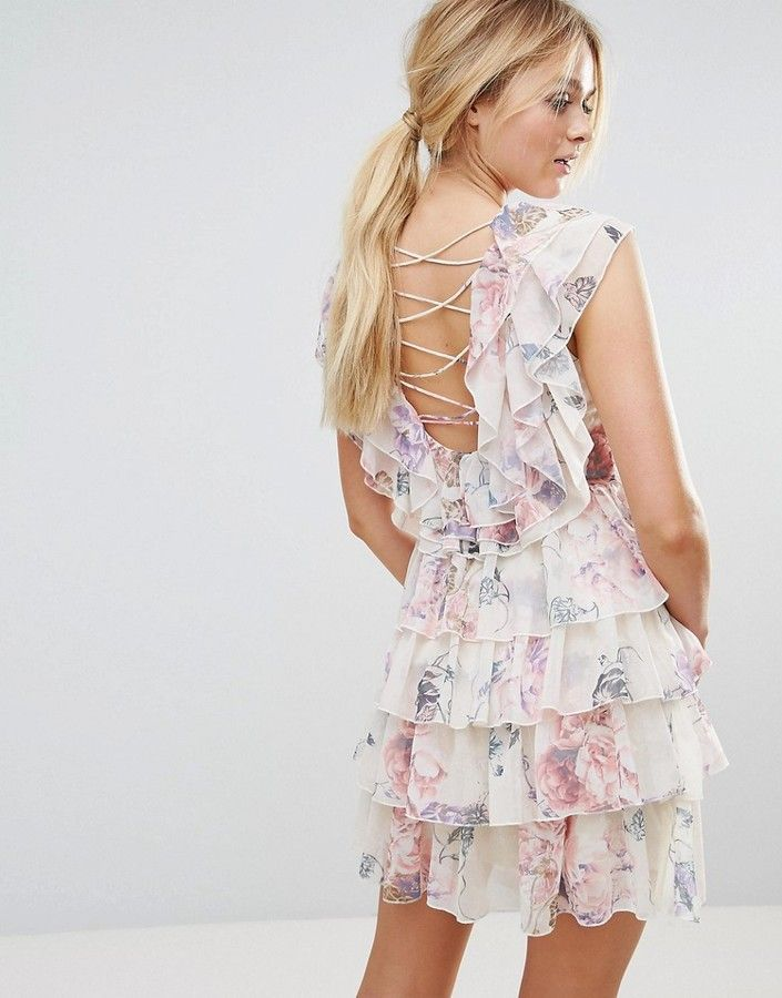 f841747feea1 Y.A.S Ruffle Floral Lace Up Back Mini Dress | Products | Leather ...