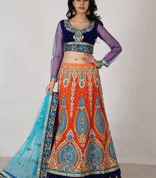 Buy Multicolor Net embroidered lehenga-choli lehenga-choli online