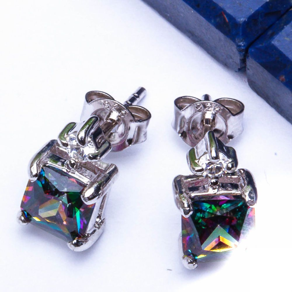 """GIFT! Rainbow Colored Topaz & Russian CZ .925 Sterling Silver Earrings  .5"""""""