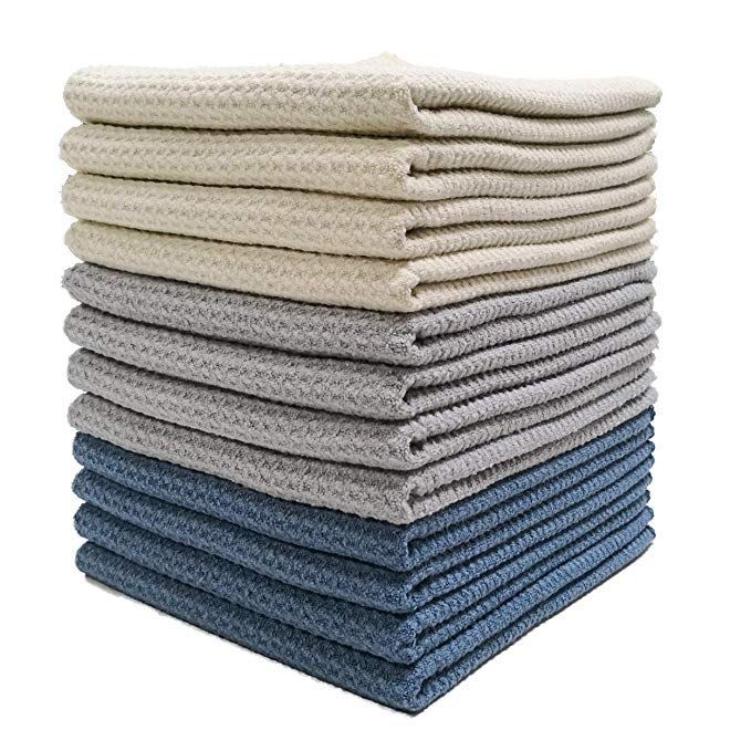 Polyte Premium Microfiber Kitchen Dish Hand Towel Waffle Weave (Dark Blue, Gray, Off White, 16x28) 12 Pack  Amazon.com: Polyte Premium Microfiber Kitchen Dish Hand Towel Waffle Weave (Dark Blue, Gray, Off Wh #16X28 #Blue #Dark #Dish #Gray #Hand #Kitchen #Microfiber #pack #Polyte #Premium #Towel #Waffle #Weave #White