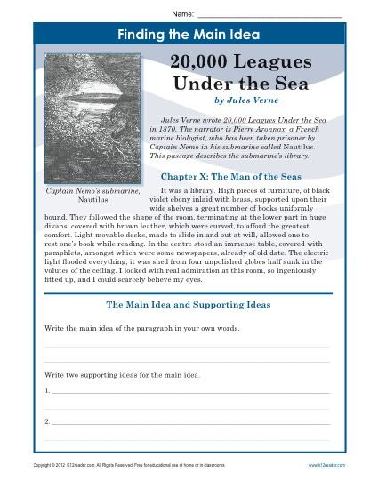 Middle School Main Idea Worksheet about 20,000 Leagues Under The ...