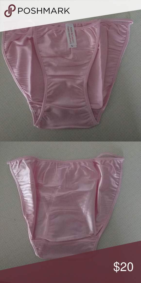 Pink satin string bikini panties