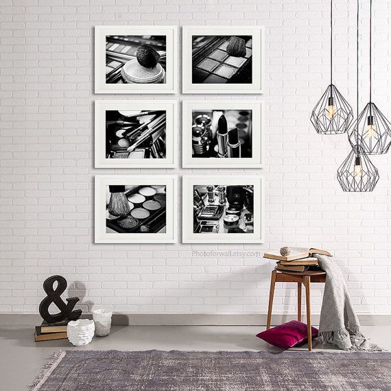 Black and white wall decor with a set of 6 makeup and chanel photography by photoforwall