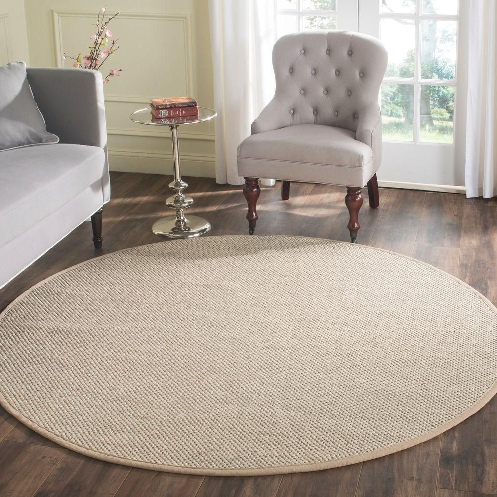 Natural Fiber Marble Linen 6 Ft X Round Area Rug