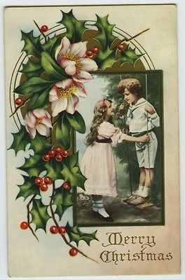 Christmas Children Girl Boy on Swings Holly Berries Flowers c1910 Embossed