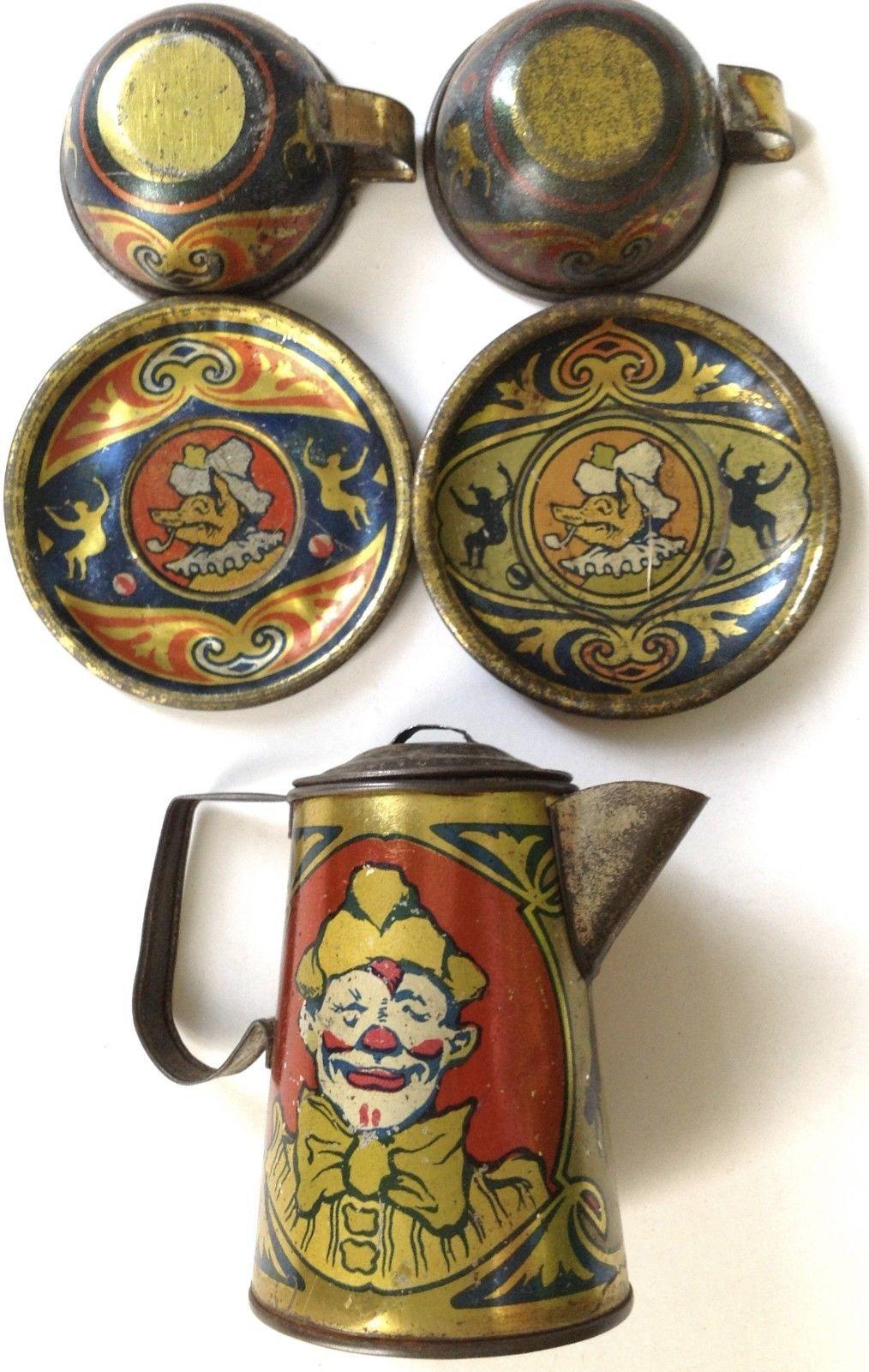 Antique 1923 Kiddies Metal Toys Tin Litho Toy Tea Set