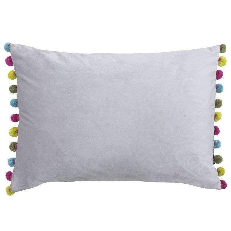 Paoletti Fiesta Rectangular Cushion With Pom Poms Dove Grey