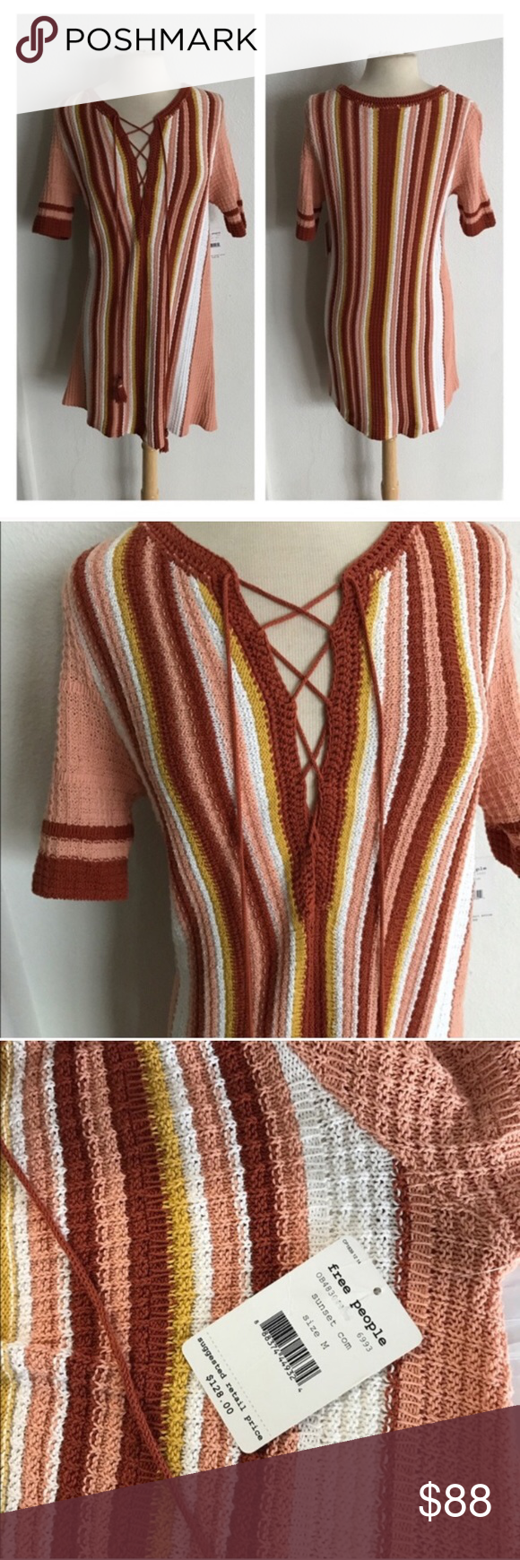 """Free People Lollipop Lace Up Free People Lollipop Lace Up. Size M. Measures 35"""" long with a 38"""" bust. 100% cotton. Form fitting, but also super stretchy! Brand new with tags. Colors are peach, yellow, white, red.  🚫NO TRADES 💲Reasonable offers accepted 💰Ask about bundle discounts Free People Dresses Mini"""