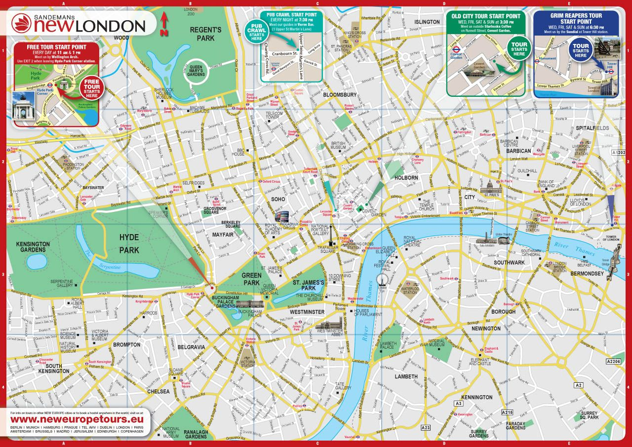free city map of london england