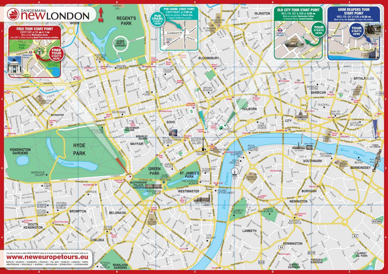 free city map of london england