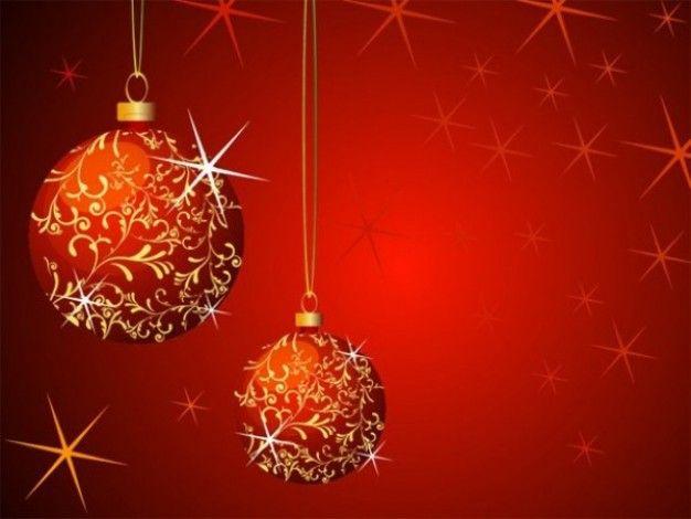Bolas De Navidad Rojas Sobre Fondo Verde: Bola De Navidad Con Vector Floral De Fondo Rojo