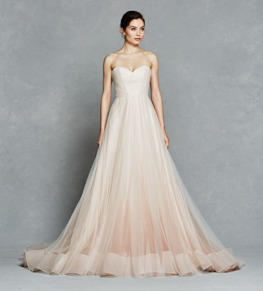 Blush Ombre Ball Gown With Tulle Micro Pleated Bodice Horsehair Hem And Pockets Locate It