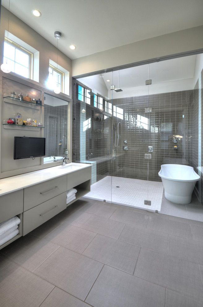 jacuzzi tub shower combo big floor tiles wall tv glass shelves ...