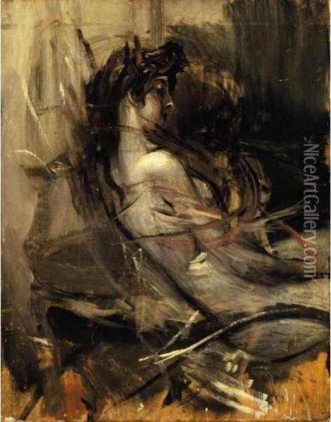 """Giovanni Boldini (Italian, 1842-1931) """"Nudo Seduto"""""""