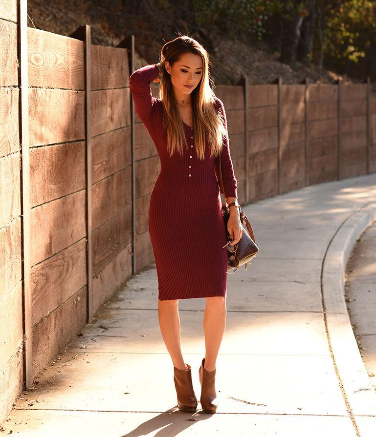 Better in burgundy burgundy midi dress red sweater