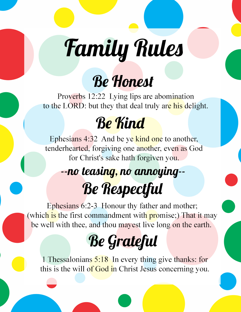 Family Rules That Produce Godliness | Family rules Family ...
