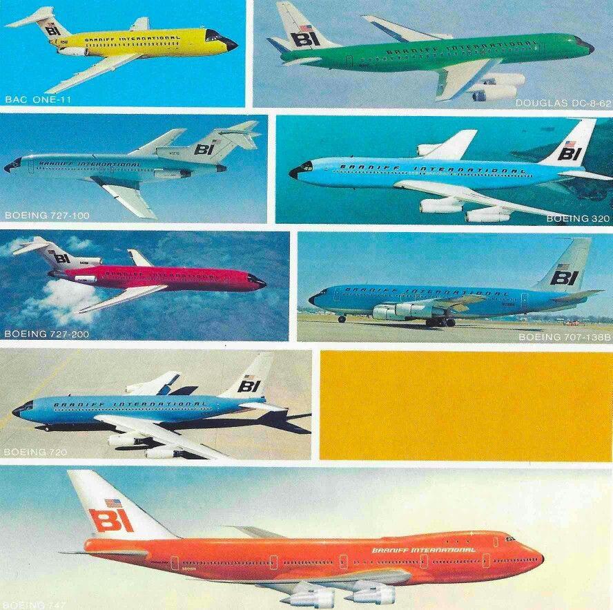 The fleet of Braniff International Vintage airlines