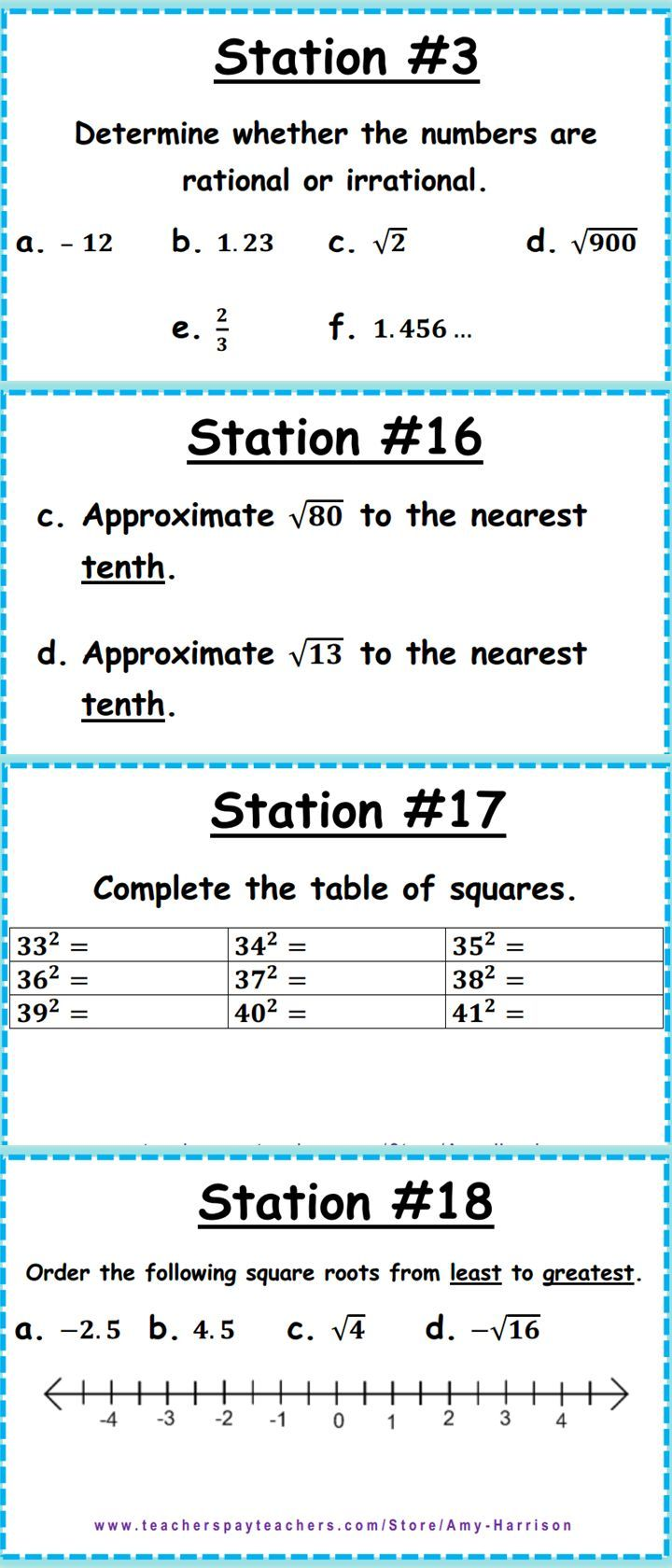 Image Result For Approximating Square Roots Graphic Organizer Middle School Math Teacher Middle School Math Education Math