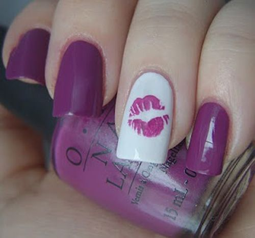 Plum purple Kiss Nails www.finditforweddings.com Nail Art - Plum Purple Kiss Nails Www.finditforweddings.com Nail Art The
