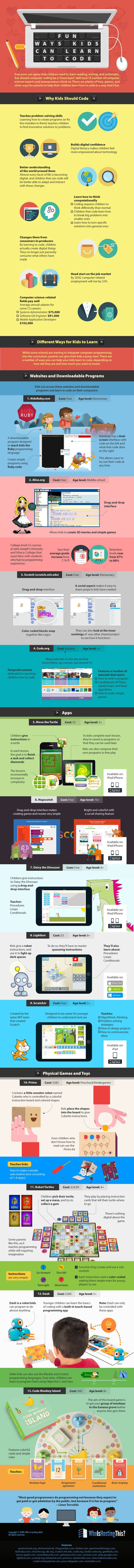 Fun Ways Kids Can Learn to Code #infographic